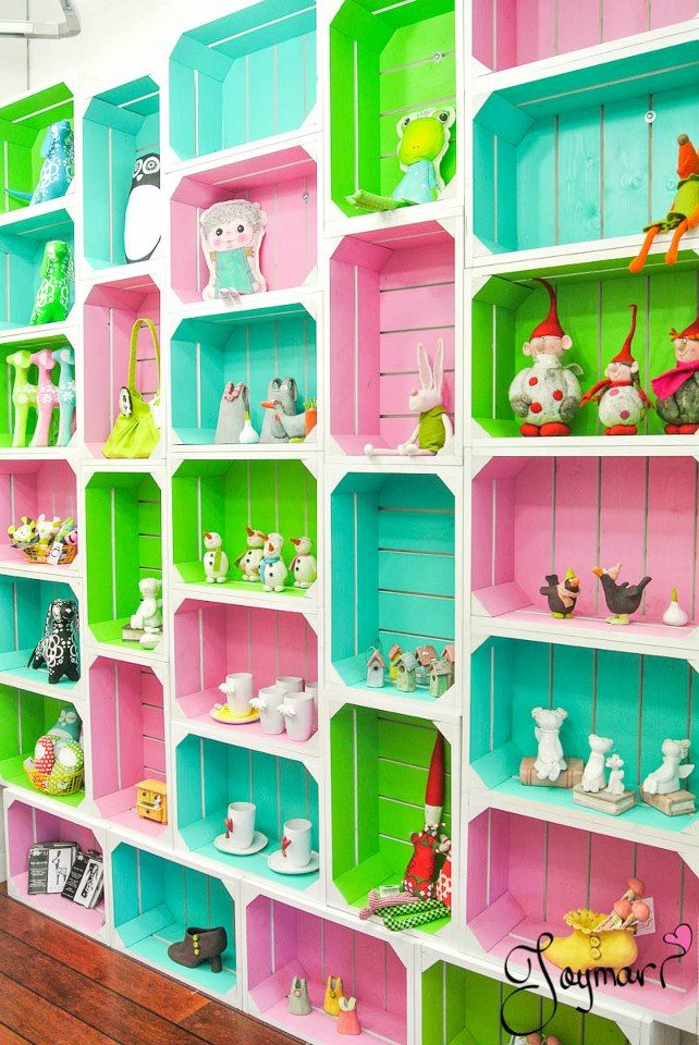 This (crate shelves) would be a good idea, adapted for any room that needs storage - change up the colours for a boy or girl's bedroom, antique it up or tone it down for a adult's large bedroom, or walk-in closet wall - need the room, but what a great idea for storage and display - especially for growing children!!