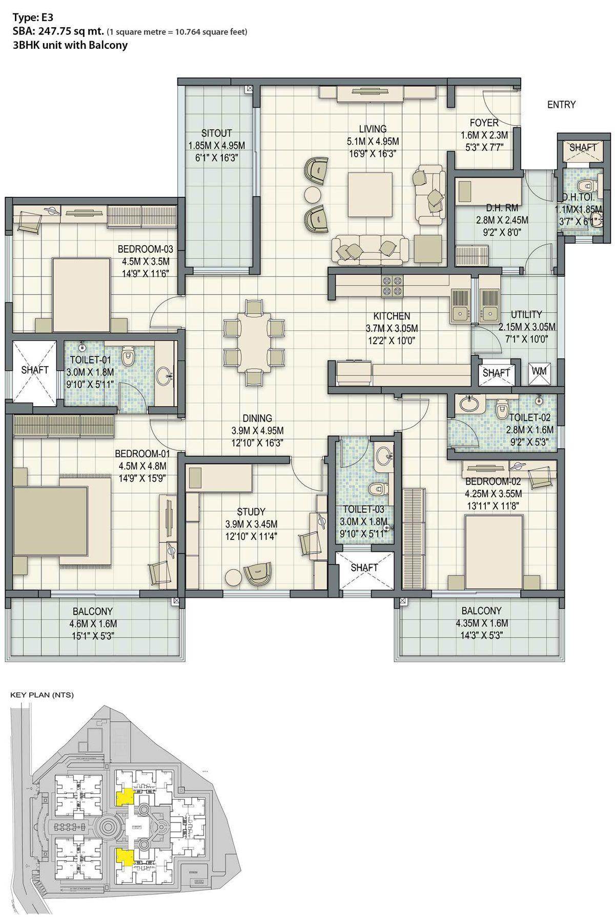 Sobha Palladian Bangalore Apartment Floor Plan Floor Plans House Plans Mansion