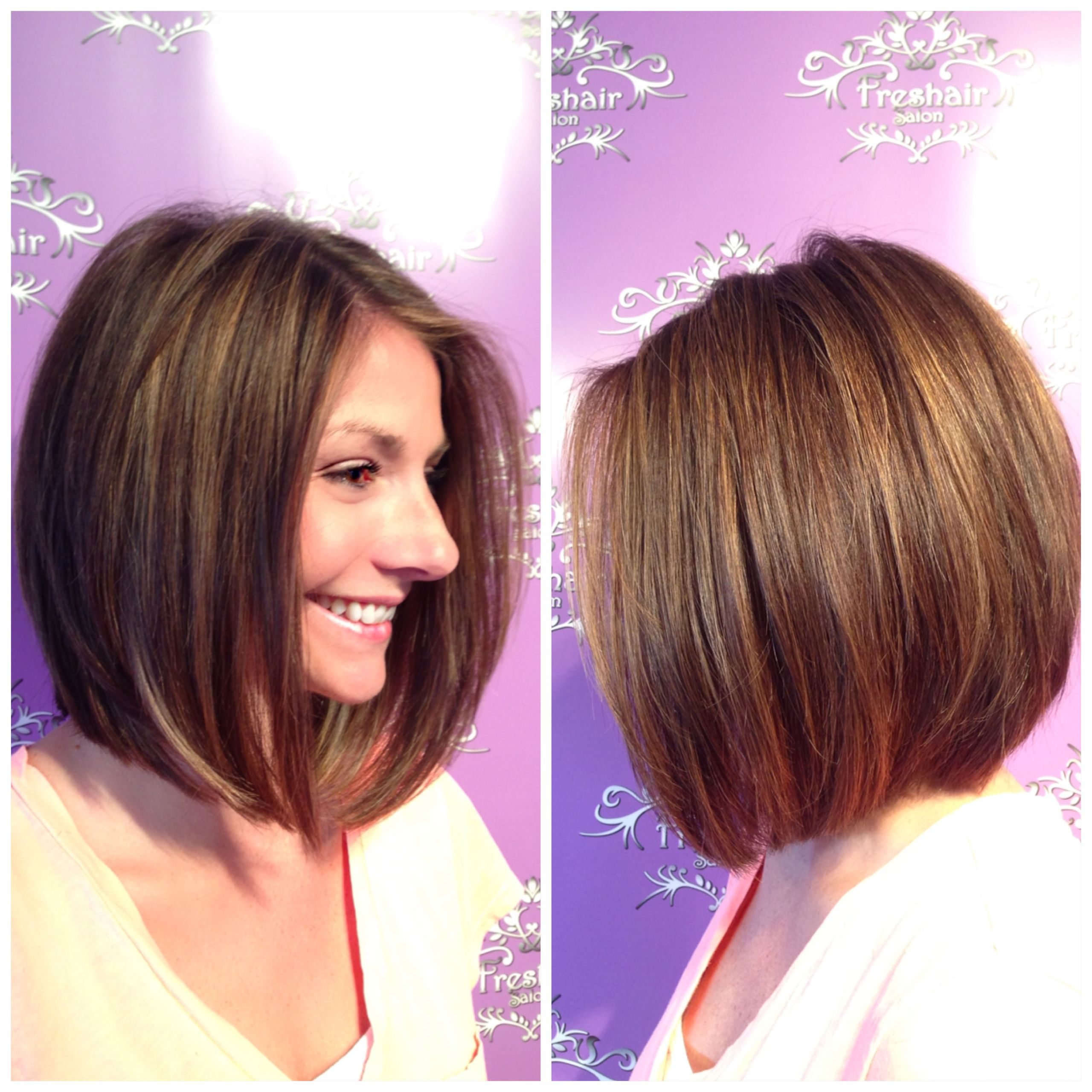 A-line bob with golden highlights and lowlights.