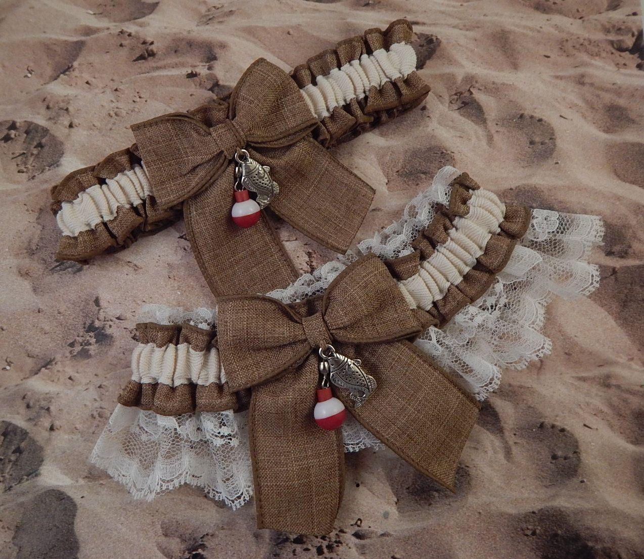 ginger colored Linen Ivory Lace gingerbread girl Charm Wedding Bridal Garter Toss Set