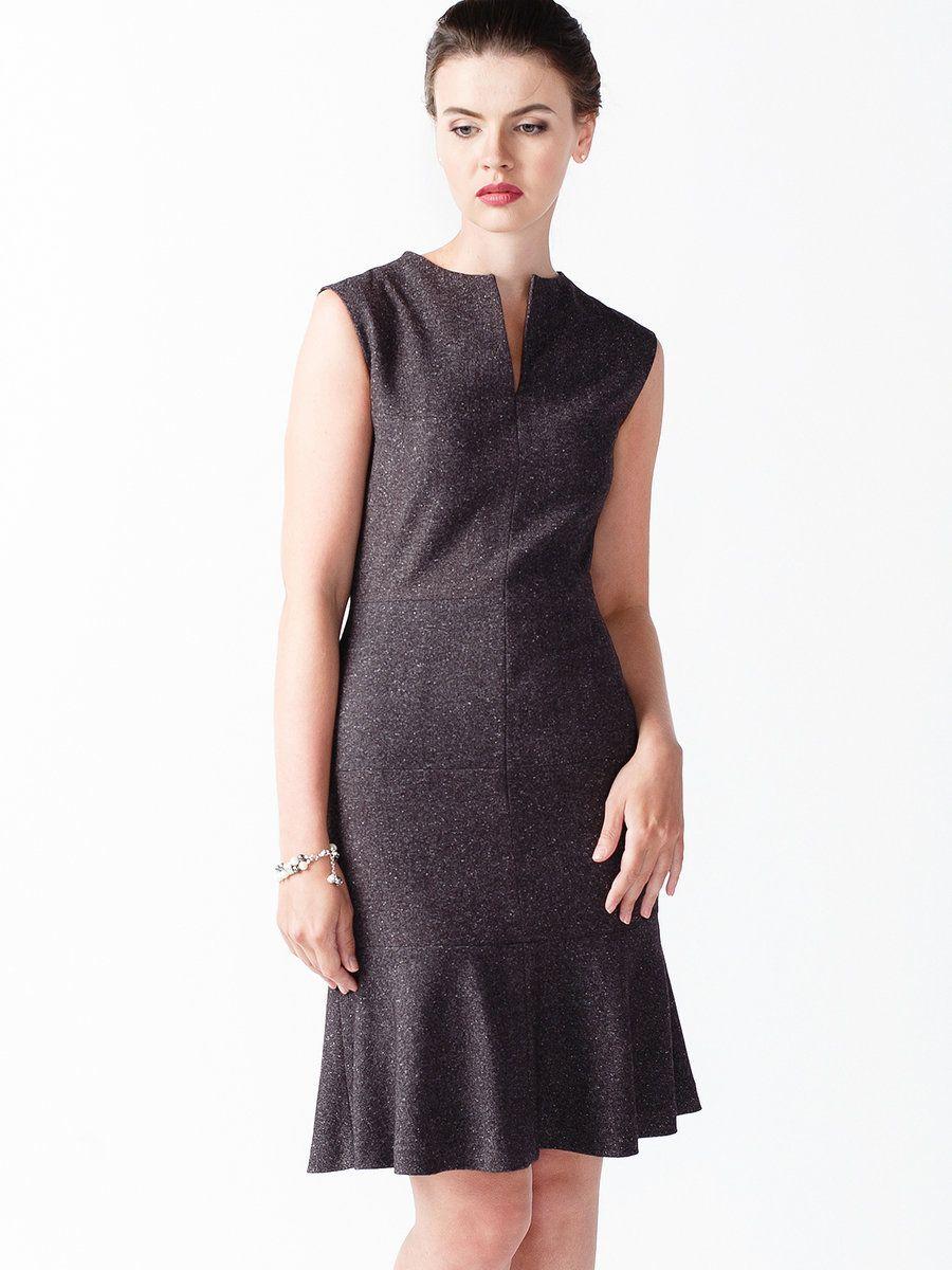 #AdoreWe StyleWe Midi Dresses - NMAY Gray V Neck Wool Ruffled Elegant Gabardine Midi Dress - AdoreWe.com