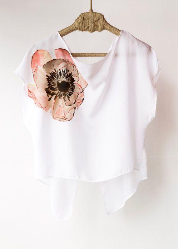 Hand Painted Shirt Art Clothing Handpainted Peony Flower T Shirt