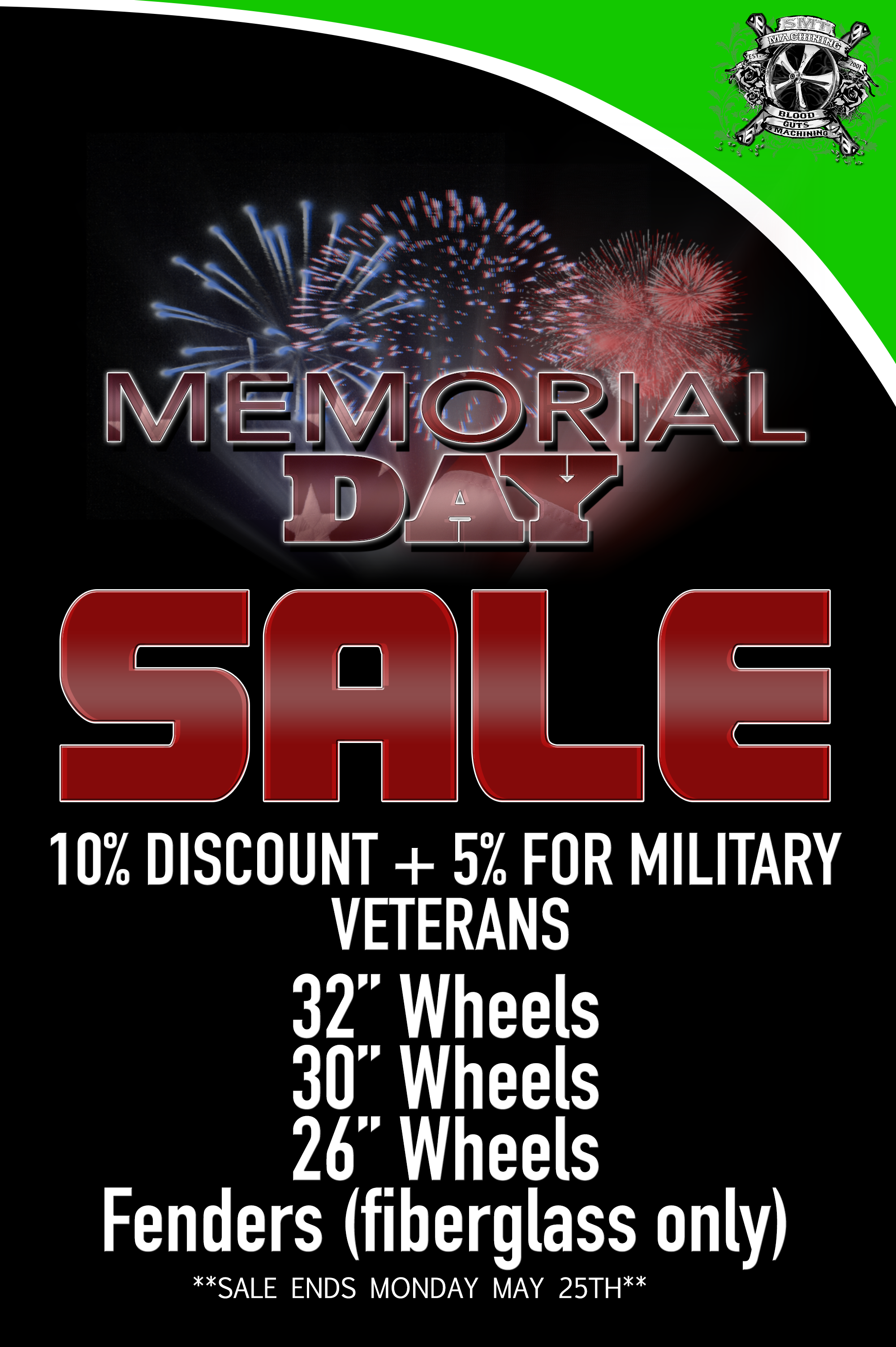 new memorial day sale!!! 10% discount + 5% for military veterans