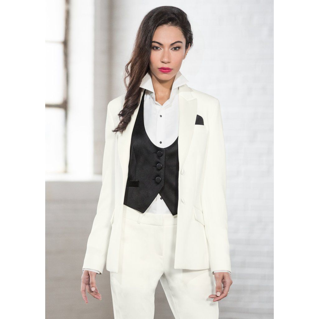 Womens Diamond White Tuxedo Jacket - Peak Lapel  de656ce67