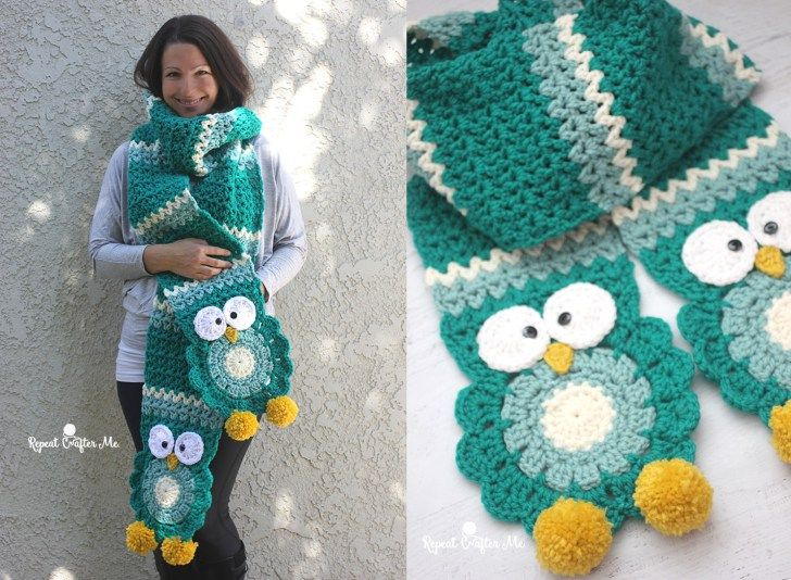 Crochet Owl Super Scarf (Repeat Crafter Me) | Crochet owls, Scarves ...