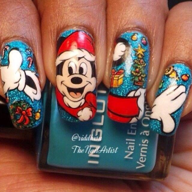 christmas mickey nails - Disney Christmas Nails