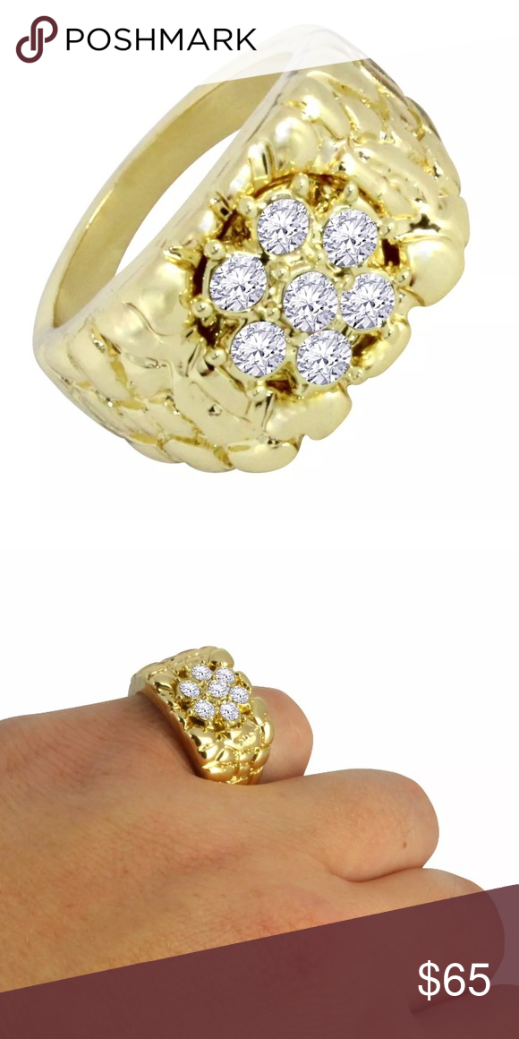 6cb813f14bebd Cluster Diamond Men's Gold Nugget Ring All Sizes Nugget Gold Plated ...