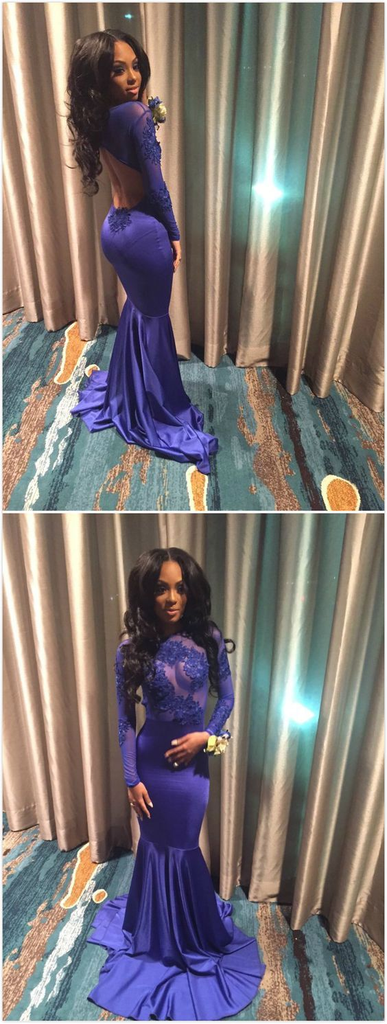 Sexy blue mermaid long sleeves backless appliques prom dresses