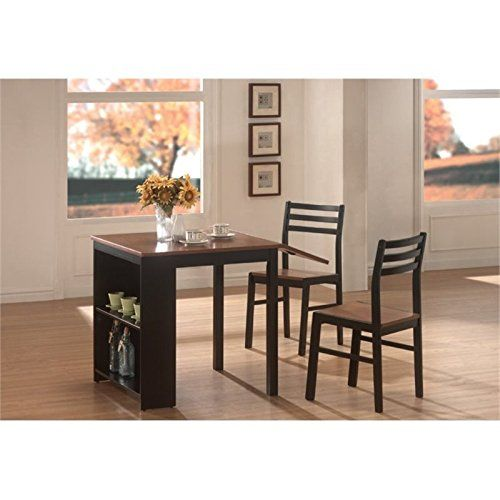 Bowery Hill 3 Piece Dining Set In Walnut And Black  Furniture7 Gorgeous 3 Piece Kitchen Table Set Inspiration