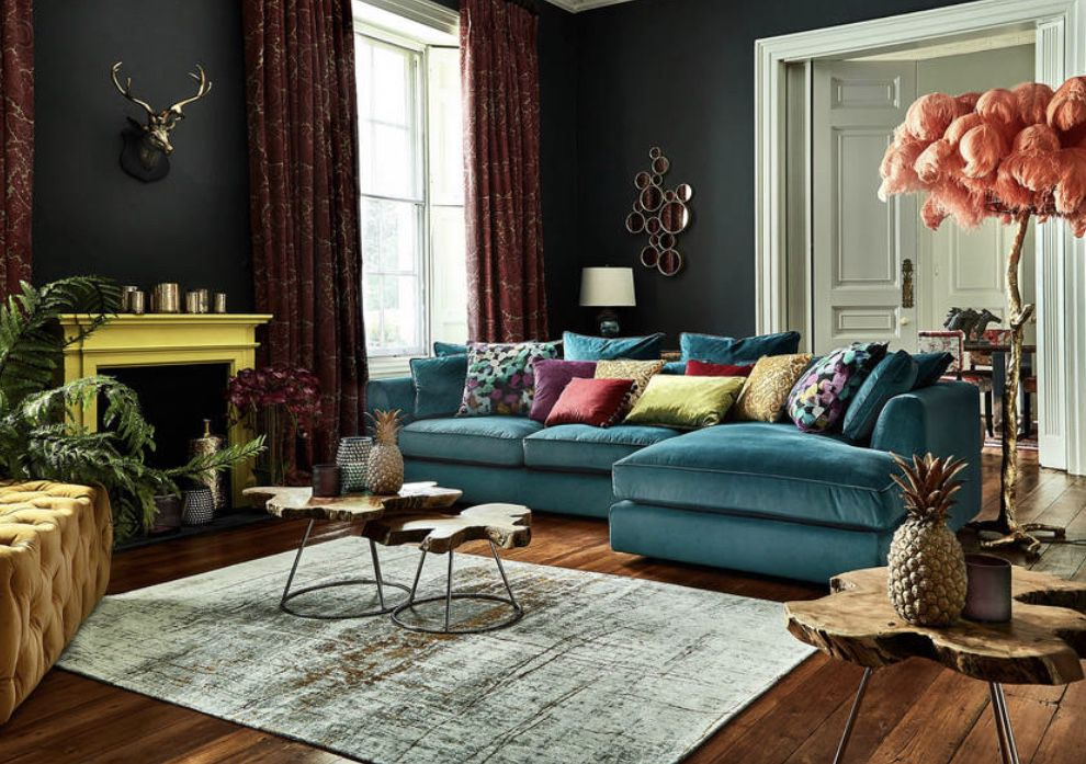 Beautiful Eclectic Living Room Decor With Teal Velvet Sofa Corner Sofa Living Room Living Room Color Modern Sofa Designs