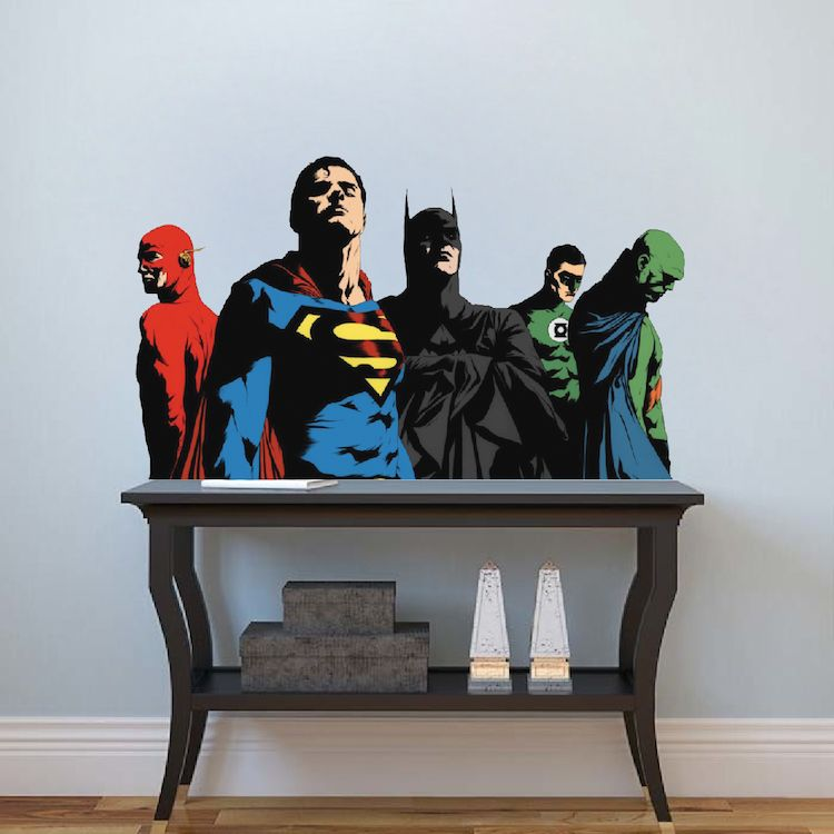 Justice League Wall Mural Decal Comic Wall Decal Murals - Superhero wall decals for kids roomssuperhero wall decal etsy