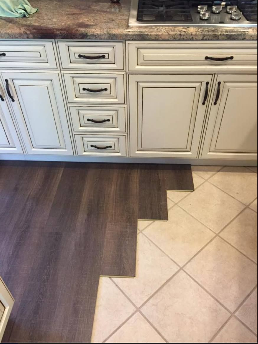 A Coretec Plus Installation Demonstrating How This Product Can Be Installed Almost On Any Surface Quick Diy Kitchen Flooring Tile Floor Diy Kitchen Floor Tile