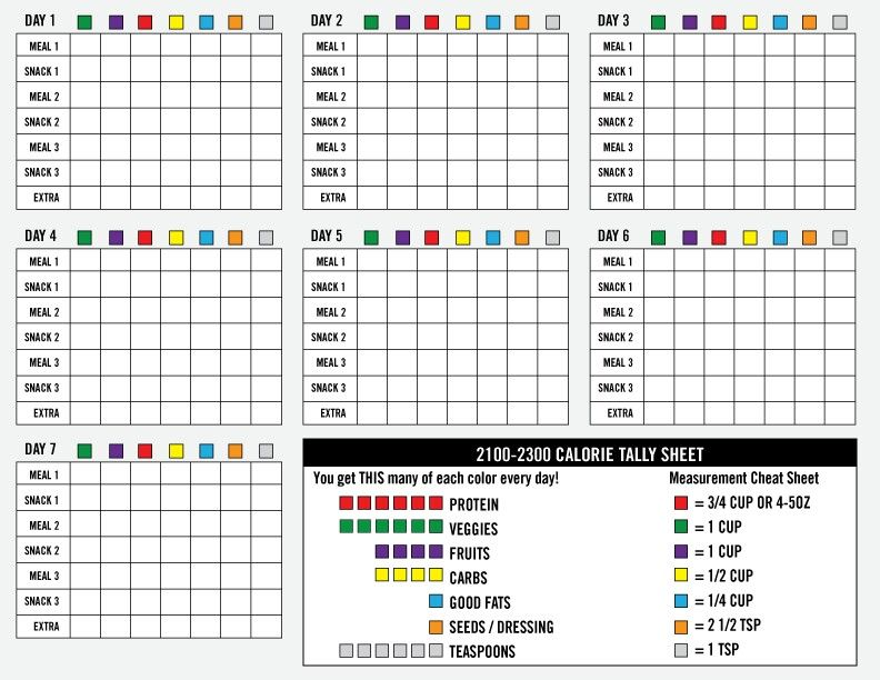 21 Day Fix quick reference tracking sheet for 2100-2300