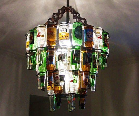 Preciosas Lámparas De Botellas De Vidrio Recicladas Beer Bottle Chandelier Bottle Chandelier Wine Bottle Chandelier