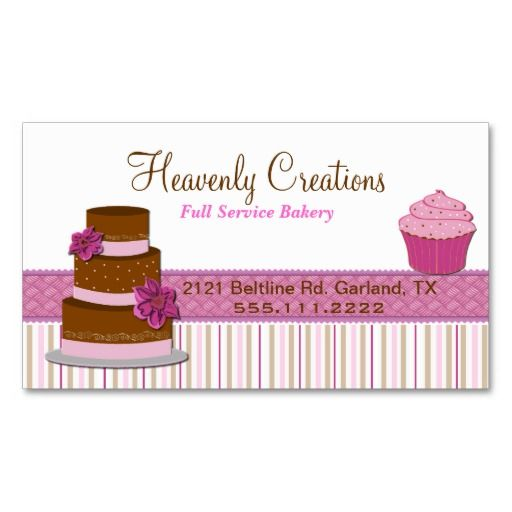 Bakery cupcake business card business cards bakeries and business bakery cupcake business card wajeb Images