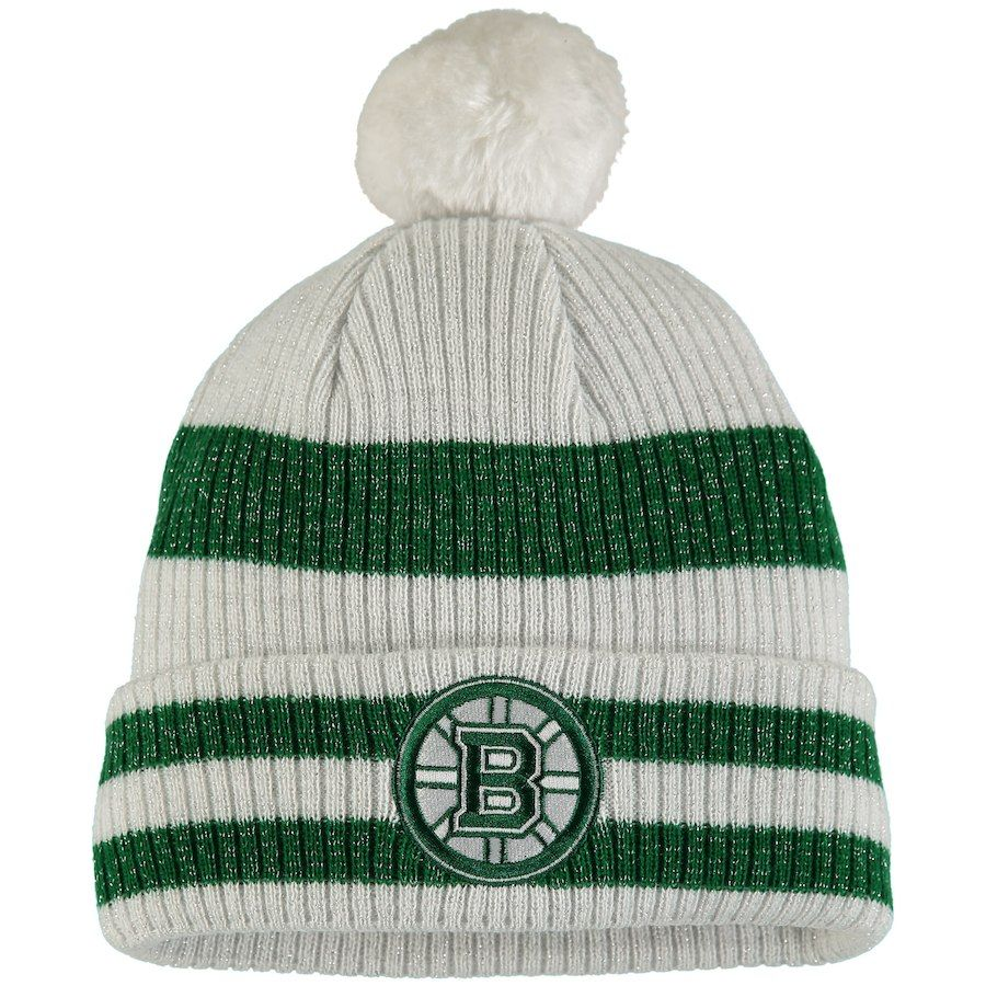 53aa51b550c10f Women's Boston Bruins Old Time Hockey Charcoal/Green St. Patrick's Day  Eveny Cuffed Knit Hat
