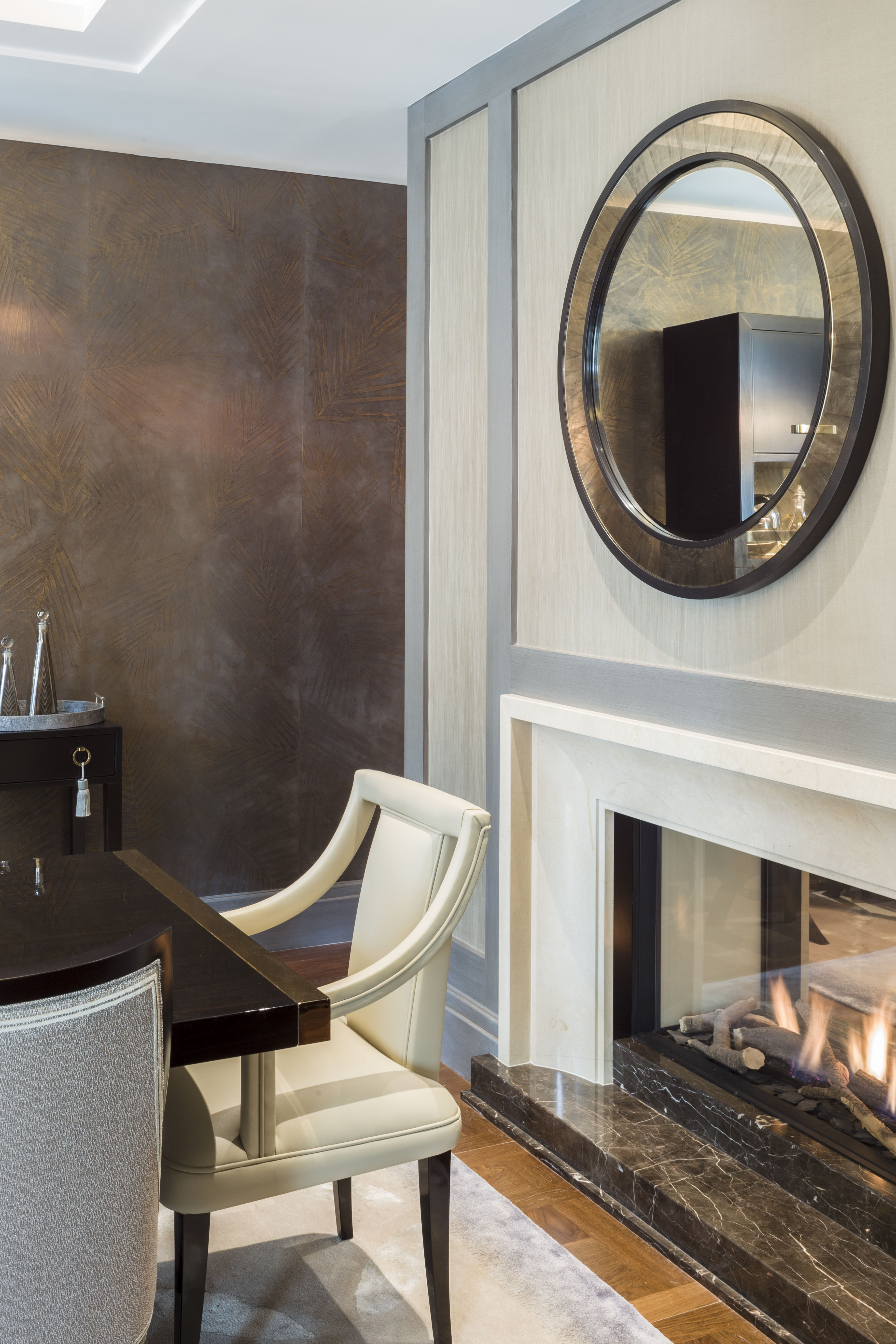 private apartment belgravia a two way fireplace with a remote