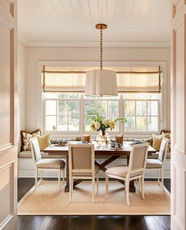 Esszimmer Holztisch Eingebaut Sitzbank Elegant Beige
