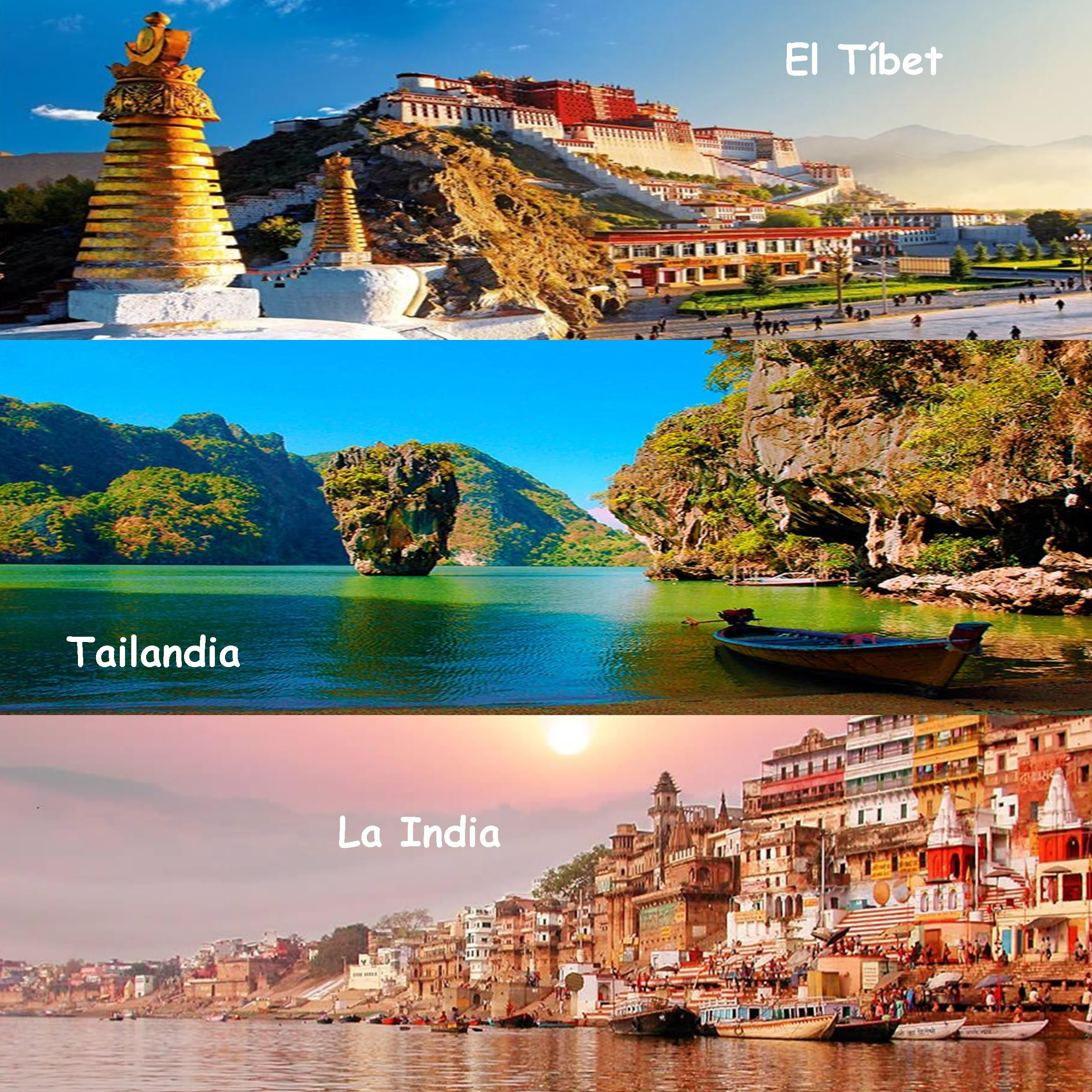 ASIA. www.promesasdeloriente.com  ¿A cuál de estos tres destinos te gustaría viajar? El Tíbet, Tailandia o La India www.promesasdeloriente.com   Which of these three countries would you most likes to visit?  Tibet, Thailand or India?