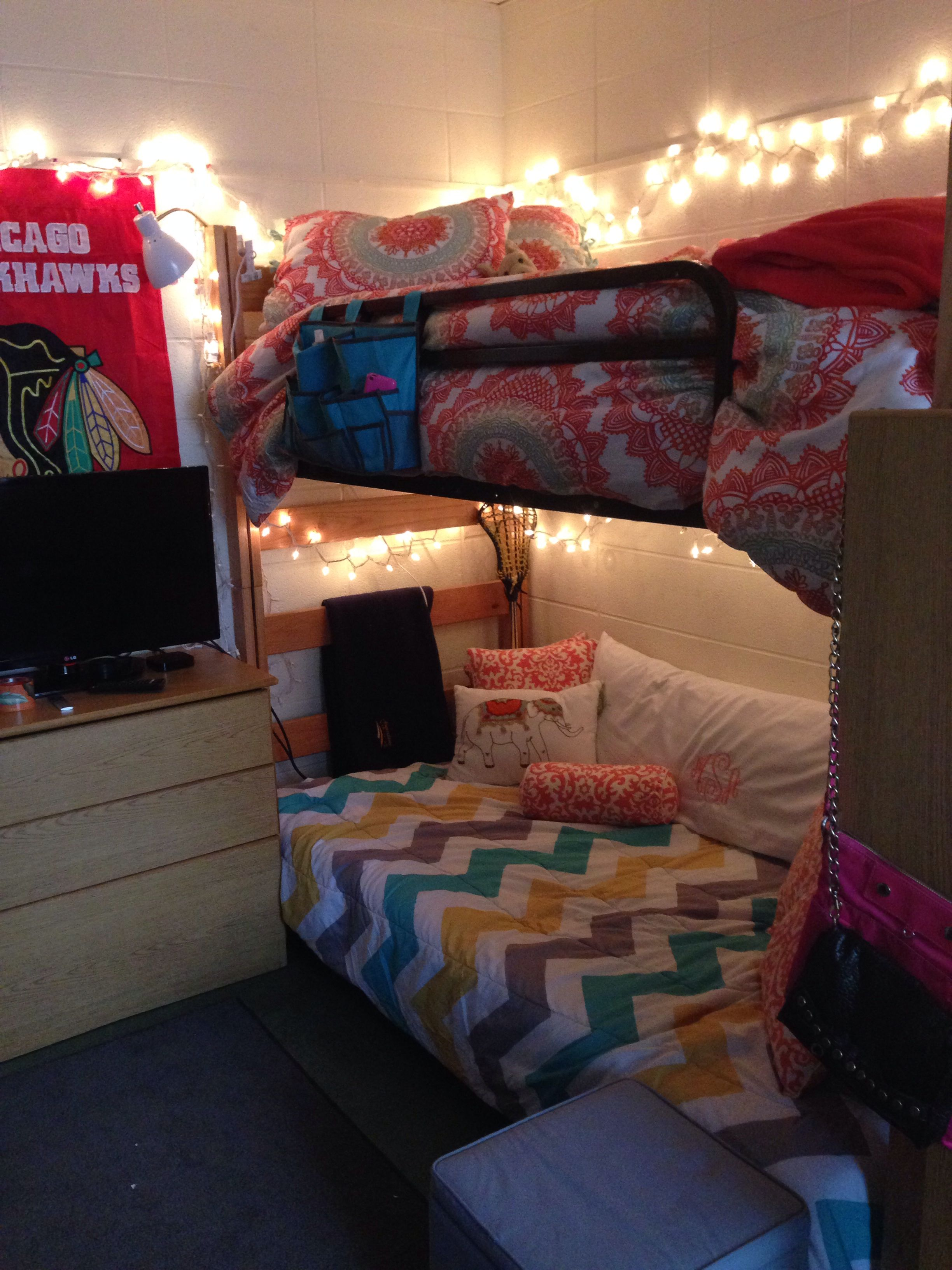 Ideas For Dorm Room: Augustana Dorm Room, Futon, Chevron, Bunk Beds, College