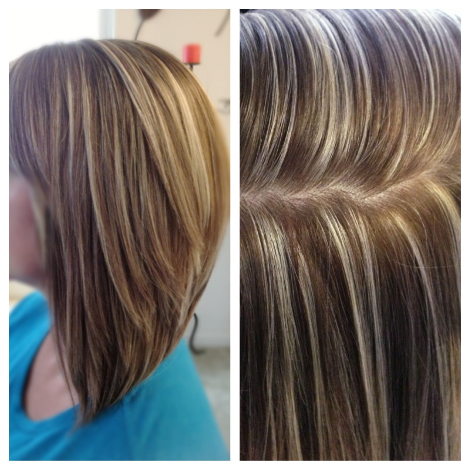 High contrast hair color highlights and lowlights platinum