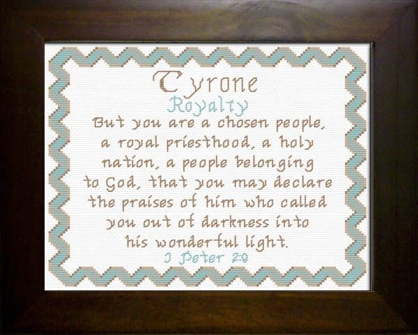 tyrone name blessings personalized cross stitch design name