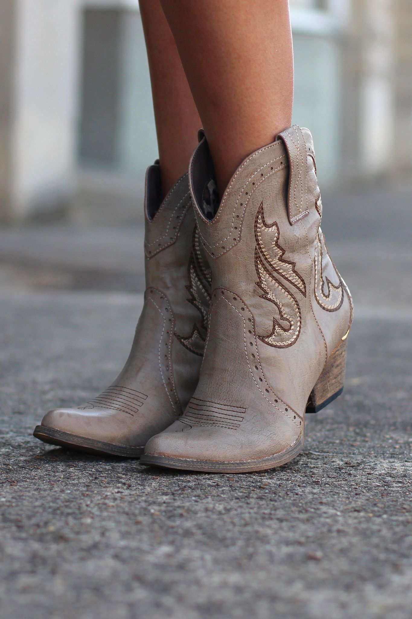 696c96a9bef Markie Western Cowgirl Bootie {Stone} by VERY VOLATILE   shoes ...