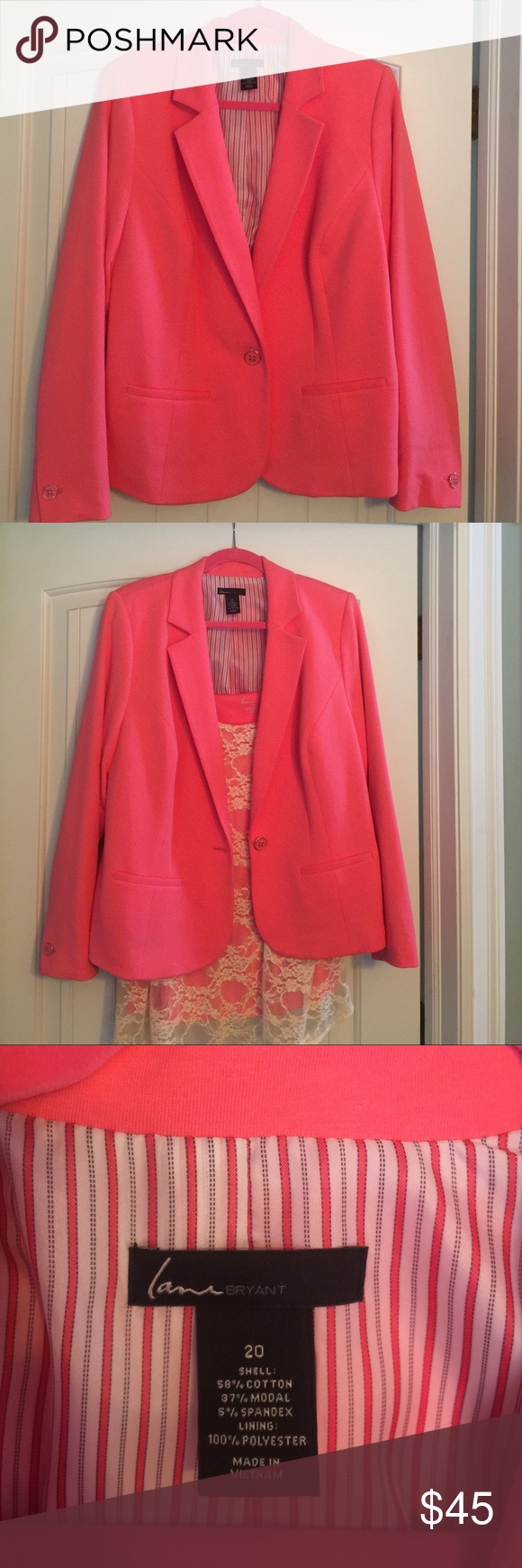 Lane Bryant suit jacket Lane Bryant suit jacket in a beautiful coral color! Really soft cotton and cute buttons on the single button closure and cuffs. Worn once and in excellent condition! Lane Bryant Jackets & Coats Blazers