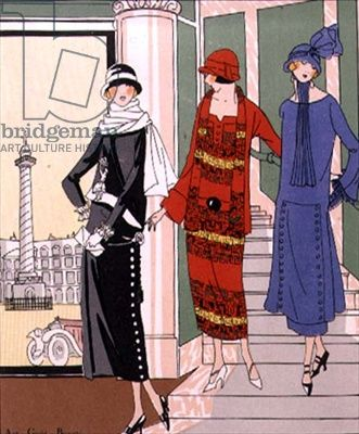 When in Rome fashion plate from 'Art, Gout, and Beaute' published 1920s Paris (Pochoir Print).