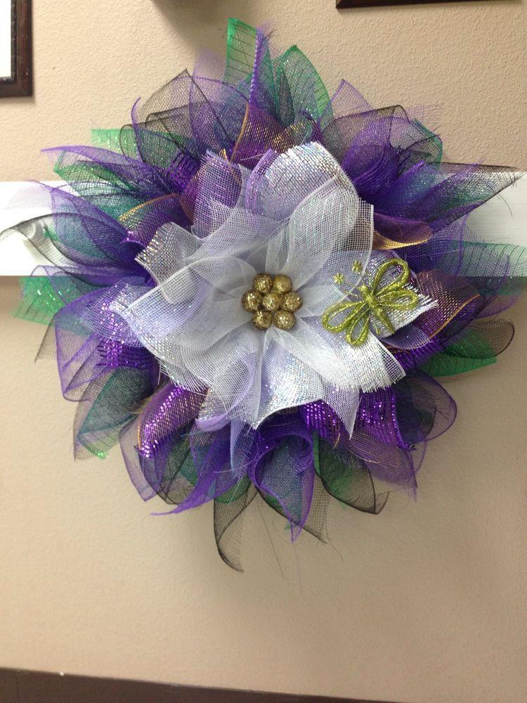Purple and White Spring/Summer Flower Deco Mesh Wreath # ...