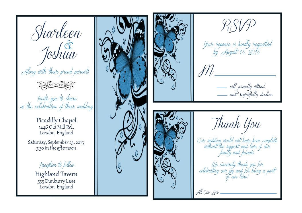 Printable Blue Butterfly Wedding Invitation by ChicCollections ...