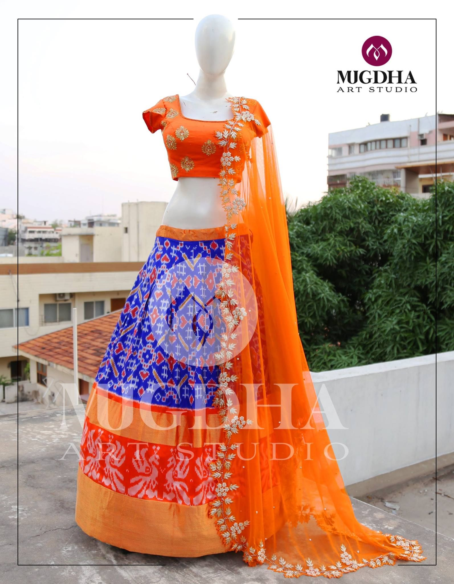 5cc222079a0ef9 Beautifully designed ikkat pattu lehenga with Gorgeous Raw silk blouse in  hand made design .Product code : LHG 279To Order :whatsapp +91 8142029190/  ...