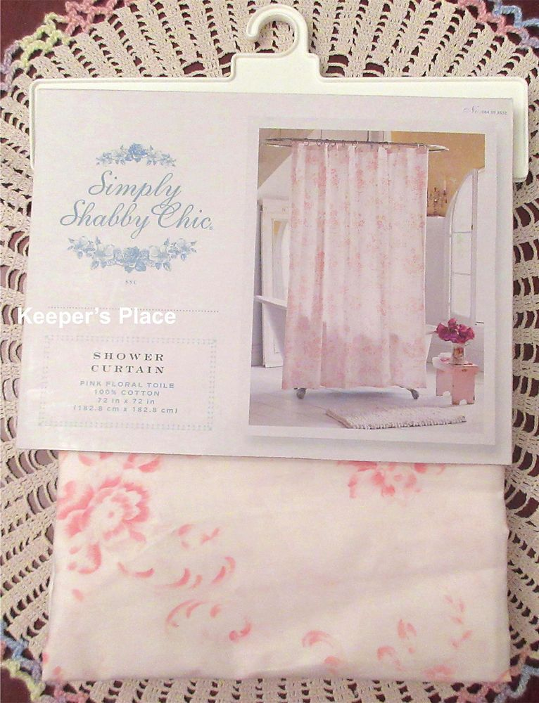 Rachel Ashwell Simply Shabby Chic Pink Floral Toile Fabric Shower Curtain New #SimplyShabbyChic