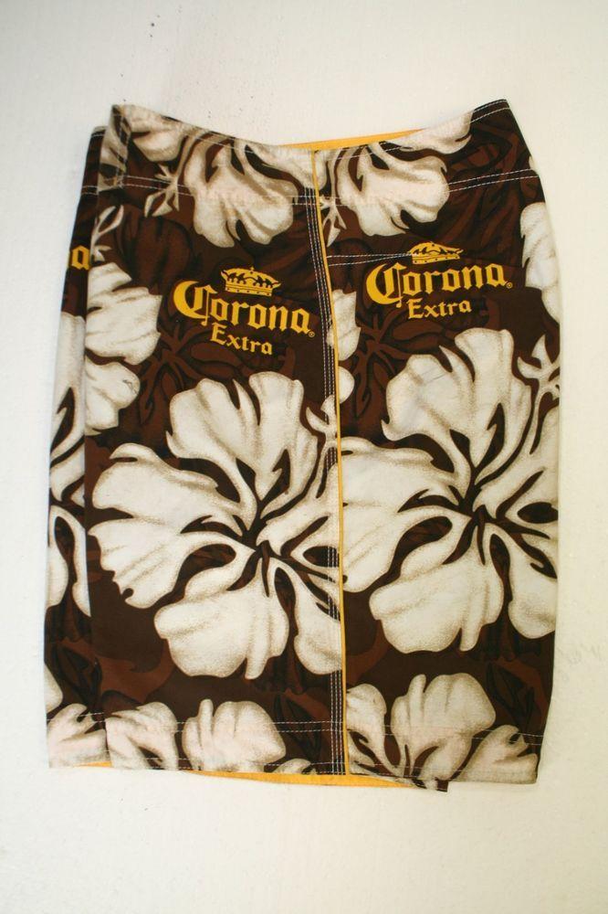 4e4a5ef2019 Corona Extra Beer Nearly Tiki Hibiscus Hawaiian Boardshorts (Mens 34) Brown  2508 #Corona #BoardShorts