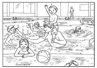 Swimming Pool Colouring Page | Zomer kleurplaten