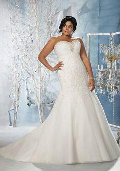 Tulle Sweetheart With Appliques Sheath/ Column Unique Plus Size Wedding Dress