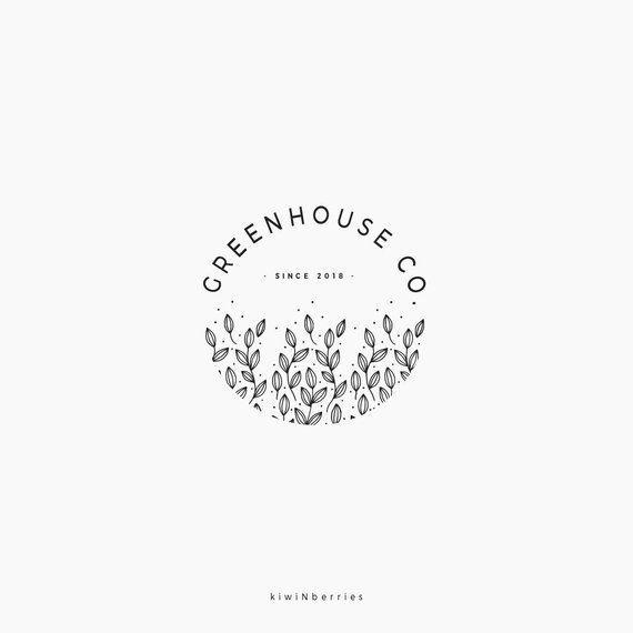 Premade logo design, Round botanical logo, Greenery logo, Farmhouse greenhouse, Circle logo design, Black and white, watermark logo