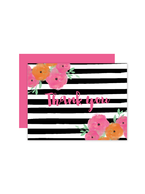 free printable floral striped wedding thank you cards free