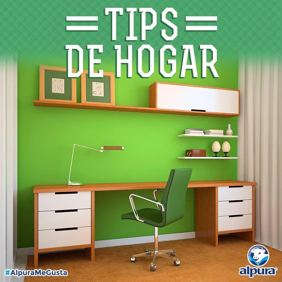 El color verde llama a aumentar el nivel de concentración. Buena opción para un espacio tipo estudio. ¿En tu caso, de qué color es el lugar dónde estudias o te concentras? #TipsAlpura