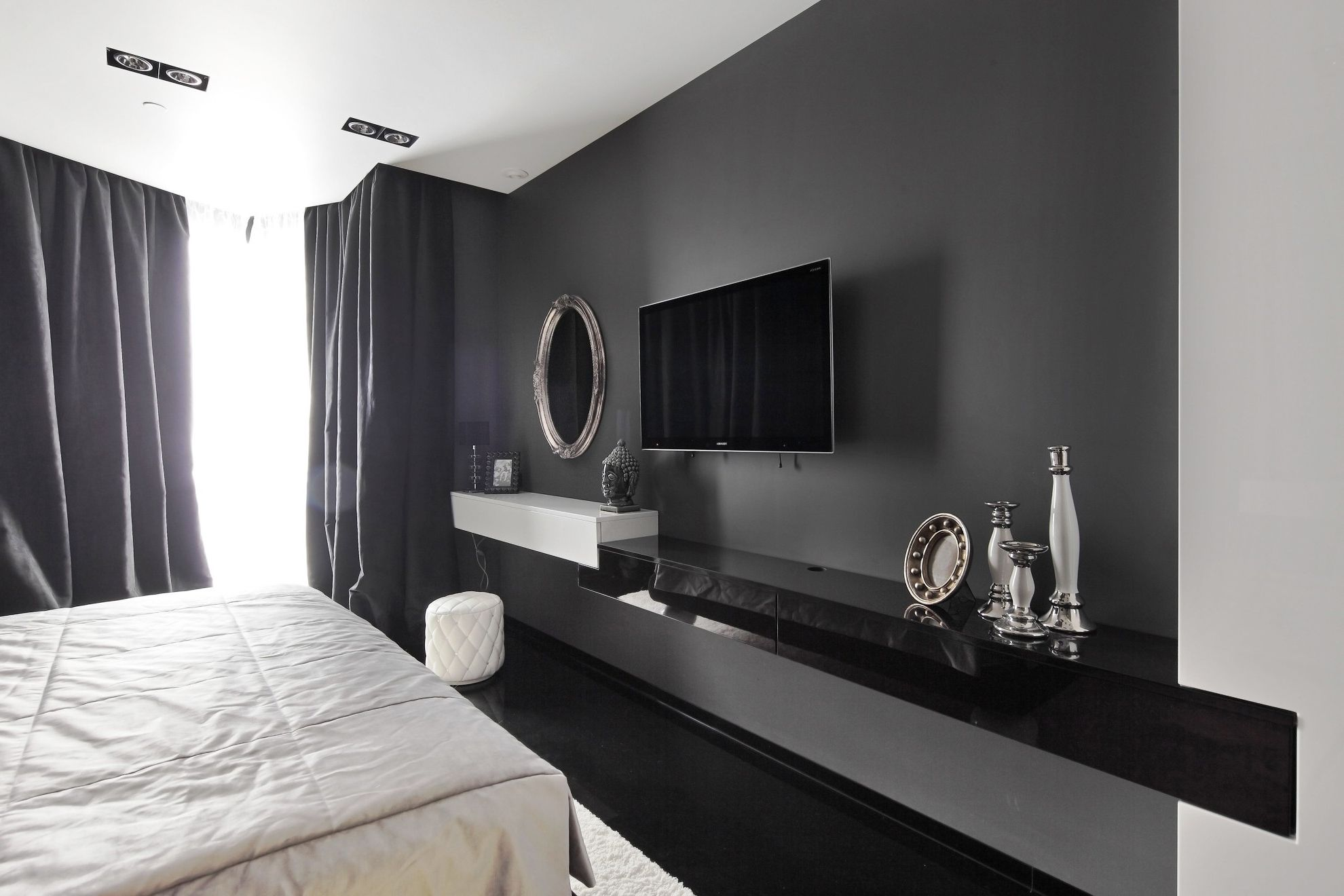 Creative And Modern Tv Wall Mount Ideas For Your Room Mounted Tv Ideas Bedroom Tv In Bedroom White Bedroom Decor
