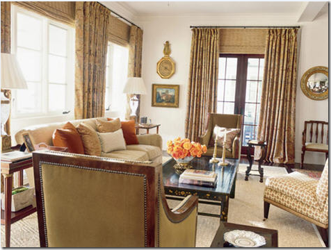 Blinds over french doors with curtains. The blinds are mounted at the same  height as