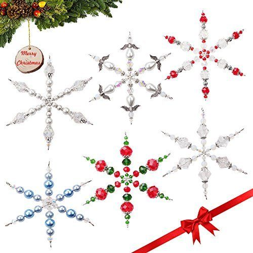 Fun Craft Beading Project 6 Inches Metal Wire Snowflake Forms