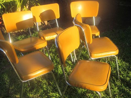 Vintage Retro Orange Vinyl Chrome Kitchen Chairs X 6 | eBay ...