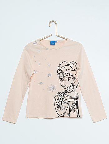 cb05d1dcb Camiseta estampada  Frozen  rosa pálido Chica - Kiabi