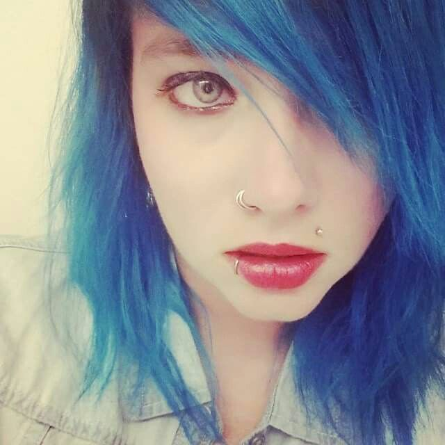 Blue hair Double nose ring Lip ring Monroe Piercings Soft