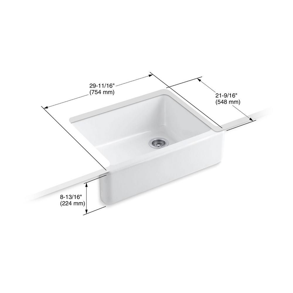 Kohler Whitehaven Farmhouse Apron Front Cast Iron 30 In Single Bowl Kitchen Sink In White Sink Single Bowl Kitchen Sink Kohler Whitehaven