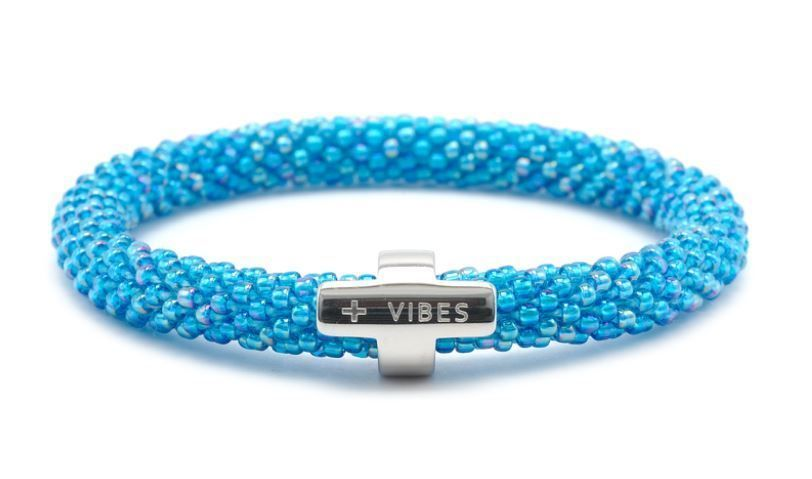 a3e1cf98a22315 Sashka Co BLUE with SILVER + VIBES CHARM Glass Beaded BRACELET Roll On P18  Box #SashkaCo #RollonBracelet
