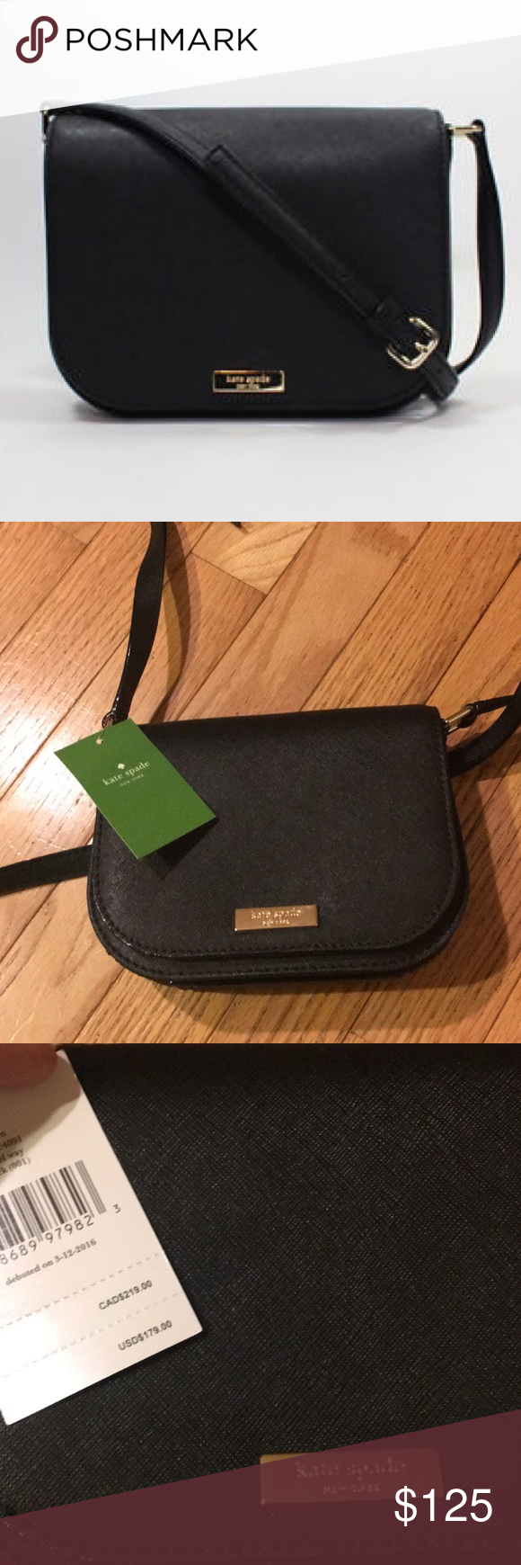 NWT Kate Spade Crossbody Adorable and classic Kate Spade NY black Crossbody. Perfect size and goes with everything. Adjustable strap. Multiple compartments and snaps shut. Style: Laurel Way black. Purchased at a Kate Spade store kate spade Bags Crossbody Bags
