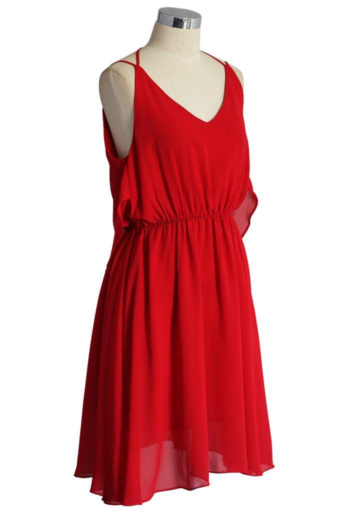 Prime Red Tiered Cami Chiffon Dress - Retro, Indie and Unique Fashion