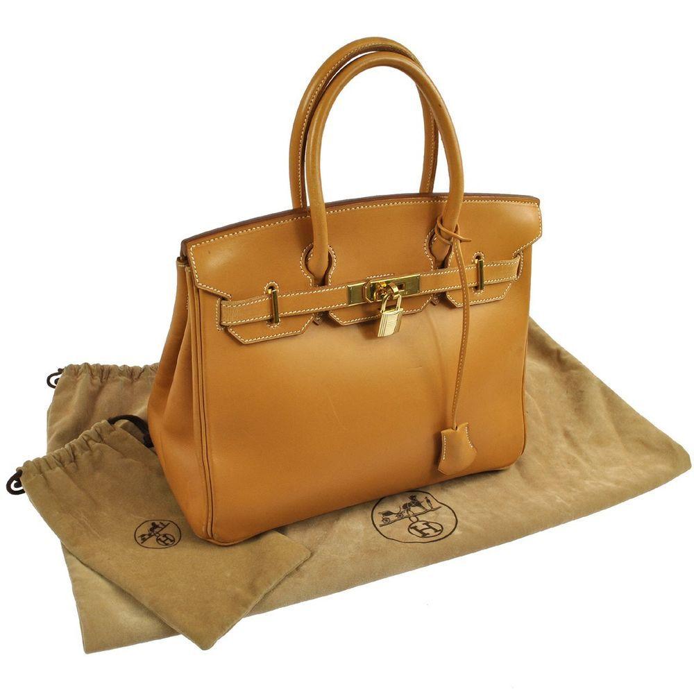HERMES BIRKIN 30 Beige Veau Barenia Hand Bag Vintage France LP02761 #HERMES #Handbag